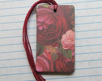 8 gift tags dark red/ pink roses patterned paper over chipboard