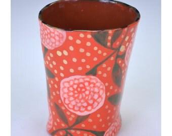 Tumbler, red, wine cup, bud vase