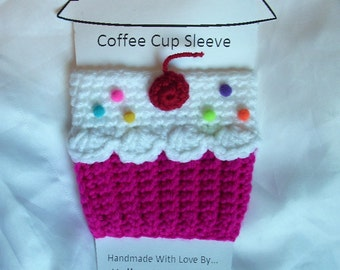 Cup cozy cupcake cup cozy sleeve Fuchsia Neon crochet Cupcake Cup Cozy for Hot or Cold solo beer Drinks Sprinkles Cherry Ready To Ship