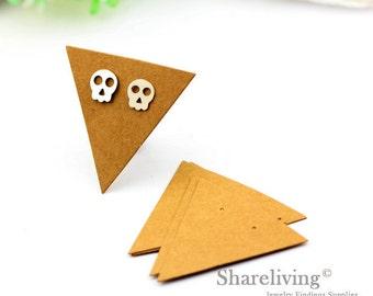Kraft Paper Triangle shape Earring Display Tags, Earring Display Cards, Earring Holder,  Packaging, Blank Design Tag - EDC001P