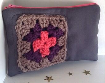 Granny square zipper pouch crochet purse gift for her, Small purse, little bags, teacher gifts handbags