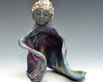 Goddess Kwan Yin Buddha With Golden Hair in Raku Ceramics by Anita Feng