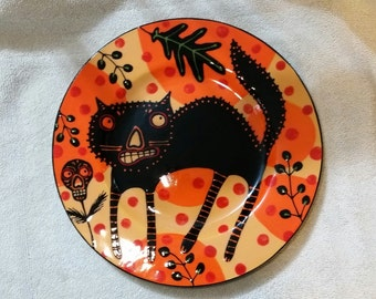 Halloween Black Cat Dinner Plate Orange and Black Hand Painted from Sharon Bloom Designs