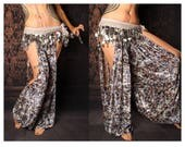 Tribal Harem Pants, cut out leg. Belly Dance Costume, Festival Fashion, Gypsy style, blue tan silver velvet pants, Boho baggy pants, hippy