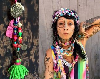 Reserved Hippie Turban Headband, belt, Bohemian Multi wear Necklace, long wrap around infinity scarf, Boho Summer Fashion, colorful wrap