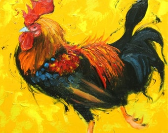 Rooster 850 12x12 inch animal portrait original oil painting by Roz