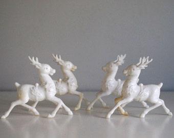 Plastic Reindeer Collection, Vintage Christmas Ornament, White Reindeer Figurines, 1960s Deer Decoration, Reindeer Antlers, Rudolph Red Nose