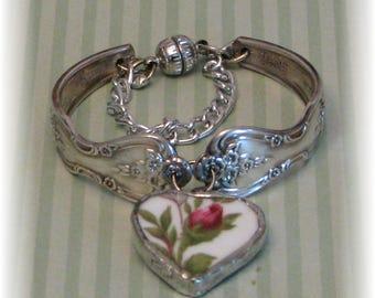 Spoon Bracelet - Broken China Charm Bracelet - Spoon Jewelry - Charm Bracelet - Bent Spoon Bracelet