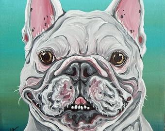 White French Bulldog Original Dog Art Canvas Painting 8 x 8 -Carla Smale