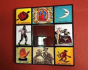 retro Mexico wall mirror vintage loteria day of the dead lucha libre Guadalupe rockabilly wall decor