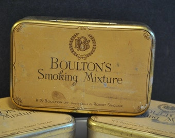 Antique Boultons Smoking Mixture Tin Turn of the Century English Smoking Tins  Brass Tin for Tobacco
