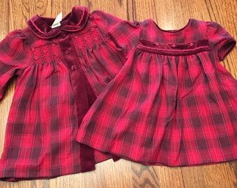 Burgundy Plaid Dress and Coat 9/12 Months