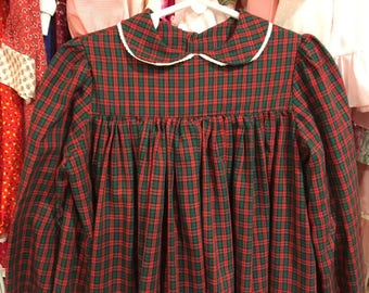 Handmade Plaid Dress Girls 5/6