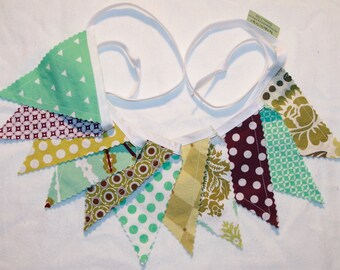Aviary pennant bunting fabric banner in plum aqua and olive green - 11 double sided flags total