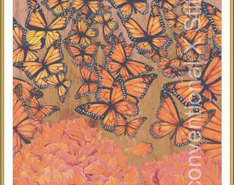 Butterflies and flowers cross stitch pattern - The Butterfly Effect - Licensed Brianna Reagan