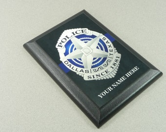 DALLAS POLICE PLAQUE Custom Personalized Name Badge Promotion Retirement Gift