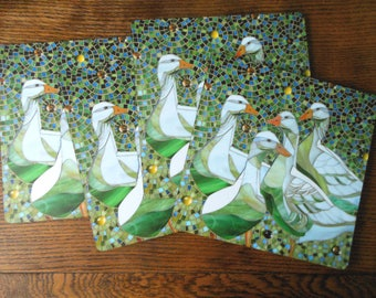 SET OF 4 Placemats - Geese Placemats - Geese Mosaic Art - Geese Tablemats - Green Mats - Placemat Set Rustic Placemats - Duck Placemats