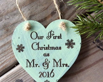 Our First Christmas as Mr. & Mrs. Ornament, Newly Wed Ornament, Wedding Gift, Christmas Wedding Gift