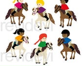 35% OFF SALE Horse riding clipart - Kids ride horse, white horse clipart - Equestrian clip art - instant download - commercial use