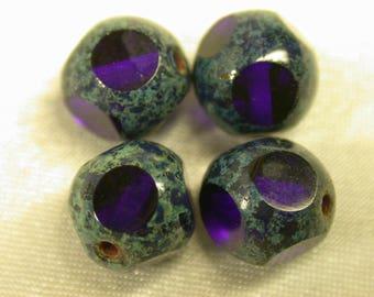 Vintage Czech Glass PICASSO Beads Blue Cubes 8mm pkg 4 gl417