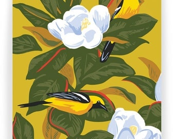 Orioles in Magnolias: Box of 8 A2 folding blank cards