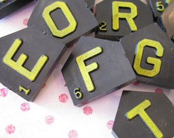 Artsy Supply...Vintage Yellow Word Game Letter Tiles