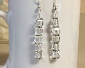 Clear glass cube earrings