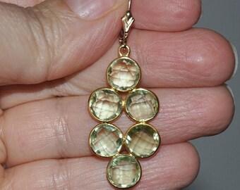 Green Amethyst Earrings, Gold Earrings, Drop Earrings, Gemstone Jewelry,  Gift For Her, Dangle Earrings,  Gold Filled
