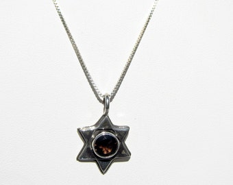 Sterling Silver and Faceted Brown Topaz Star of David Pendant with Sterling Chain     1075