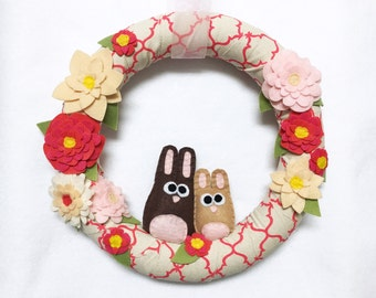 Bunny Wreath, Linen Wrapped Wreath, Coral Pink and Felt Flowers, Summer and Spring Wreath, Door Hanging, Housewarming Gift