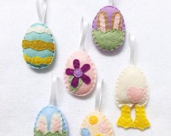 Easter Egg Ornament Set of 6, Spring Ornament, Felt Ornament, Felt Hand Stitched Decor