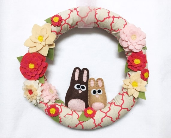 Bunny Wreath, Linen Wreath, Coral Pink and Felt Flowers, Easter, Spring Wreath, Door Hanging, Housewarming Gift