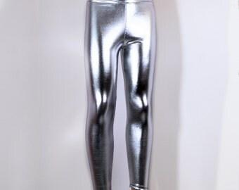 Shiny Metallic Silver Stretch Lycra Leggings Pants Child Toddler Kids All Sizes MTCoffinz