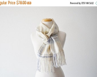 January Sale Handwoven Scarf in Pale Wool and Silk - Pale Purple, Cream White, Fringed, Winterweight, One of a Kind.  The Gingham Scarf