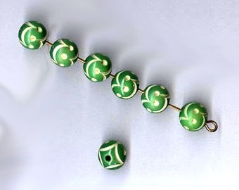 vintage carved celluloid beads 8mm GREEN rare antique celluloid beads TEN carved celluloid beads vintage celluloid spacer beads highlights