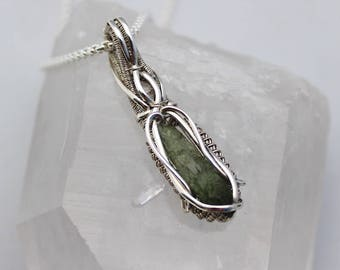 Moldavite Wire Wrapped Pendant Heady Wire Wrap Herkimer Diamond Sterling Silver