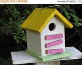 ON SALE Primitive Birdhouse Yellow White Pink Neon Green Songbirds Yard Garden Shabby