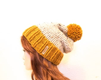 Knit Hat, Women Knit Hat, Slouchy Knit Hat with Pom Pom / VAIL / Butterscotch and Oatmeal