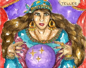Occult Art Fortune Teller Art Print Gypsy Witch Art Pagan Art Spiritual Magick Divination Witchcraft Ritual Mythological Dark Goddess