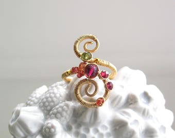 Multi Gemstone 14k Gold Filled Spiral Ring with Pink Tourmaline, Spinel, Vesuvianite, and Sapphire, Size 4