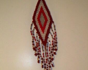 Rose Quartz & Garnet Pendant Necklace, Red and Pink Bead Diamond Shaped Pendant Necklace with Rose Quartz and Garnet Beaded Fringe