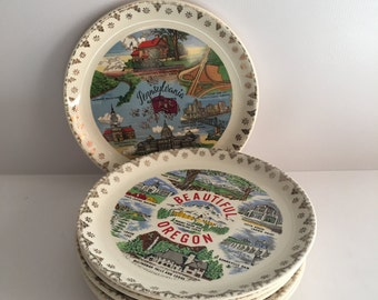 Appetizer Dessert Plates Set of Six Travel Souvenir with Gold Rims State Collectible Mid Century
