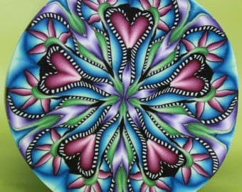 MEDIUM Polymer Clay Circle Kaleidoscope Cane-'Wander' series (48B)
