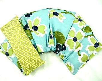 Chronic Pain Relief: Neck Shoulder Wrap Eye Pillow Set Extra Wide Moist Heat Pad Microwave Pack Rice Flax Seed Gift Idea