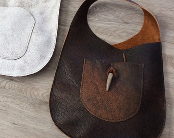 Leather Oval Sling Bag in Distressed Bison Leather by Stacy Leigh