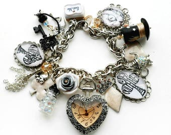 Alice in Wonderland Champagne Ivory and Silver Heart Watch Charm Bracelet