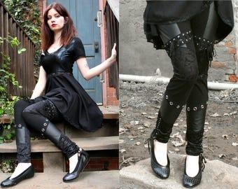 Faux Leather, Lace, and Grommet Leggings XS S M L XL 2xl 3xl plus size punk goth pants corset lacing lace-up gothic high-waist metal d-ring