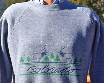 vintage 80s sweatshirt COLORADO rockies mountains travel deer nature heathered gray rayon Medium Large 1984