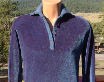 vintage 70s VELOUR shirt navy blue purple iridescent collar soft sweatshirt polo Small 60s butte