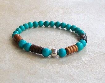 Mens beaded bracelet handmade blue turquoise, brown wood beads